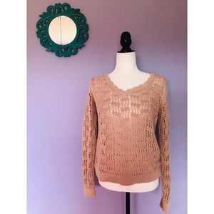 Loft open knit scalloped neck sweater